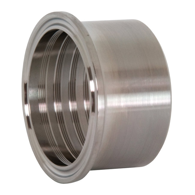 Tri clamp ferrules roll on expanding