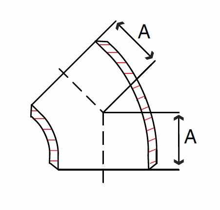 Schedule 40 45 Degree Butt Weld Pipe Fittings, Stainless Steel